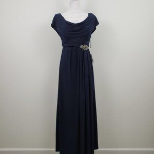 Alex Evenings Cowl Neck Beaded Waist Gown Women 6P